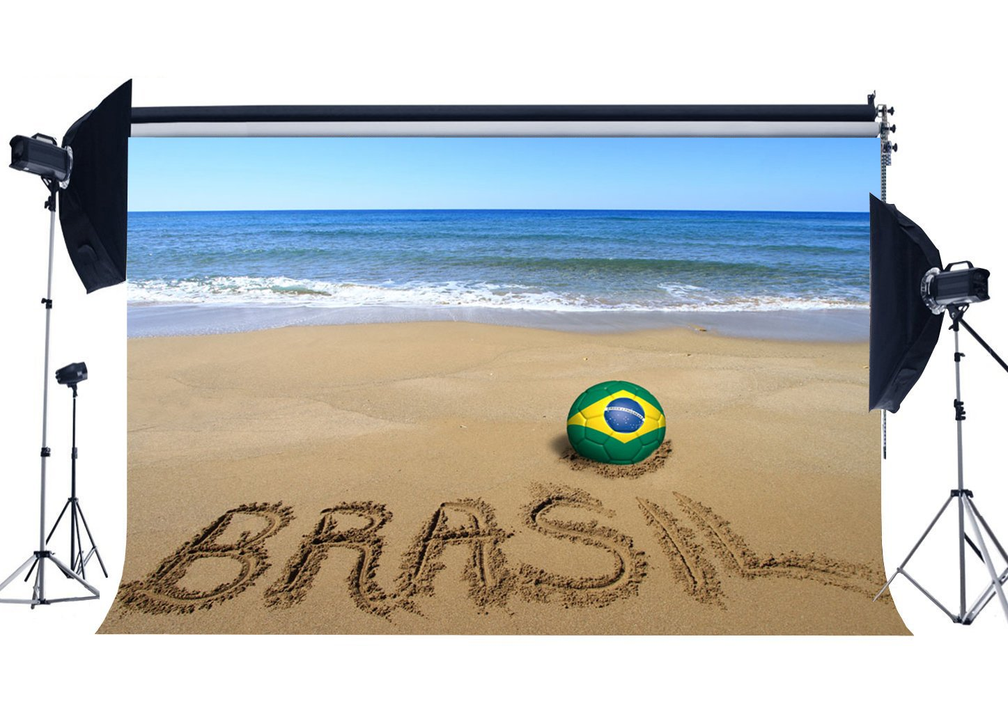 Brasil Football Field Backdrop Tropical Sand Beach Backdrops Seaside Sports Match Photography Background-in Photo Studio Accessories from Consumer Electronics