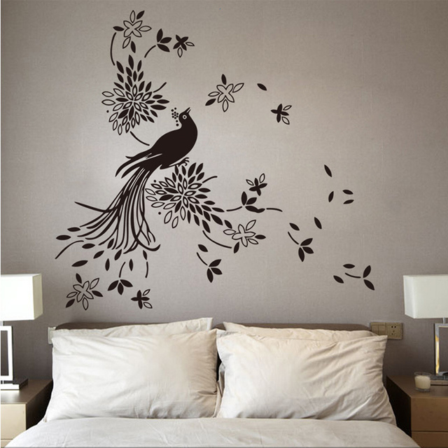 Interior Pretty Wall Decor large size pretty birds flying wall art vinyl decoration removable sticker109cmx113cm free shipping