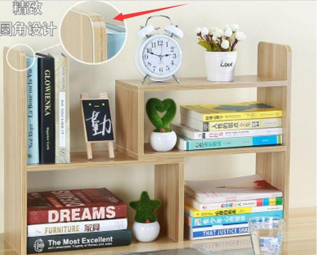 Safety Round Corner Design DIY Office Bookcase Desk Bookshelf Portable Shelf  With Three Assemble Styles