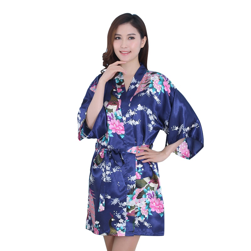 Women Sexy Vogue Peacock Printed Silk Loose Summer Nightwear V-Neck Dresses Robes Pajamas