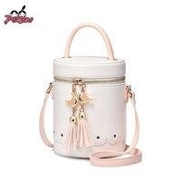 JUST STAR Women S Leather Handbags Ladies Fashion Tassel Bird Shoulder Purse Female Small Cylindrical Bag