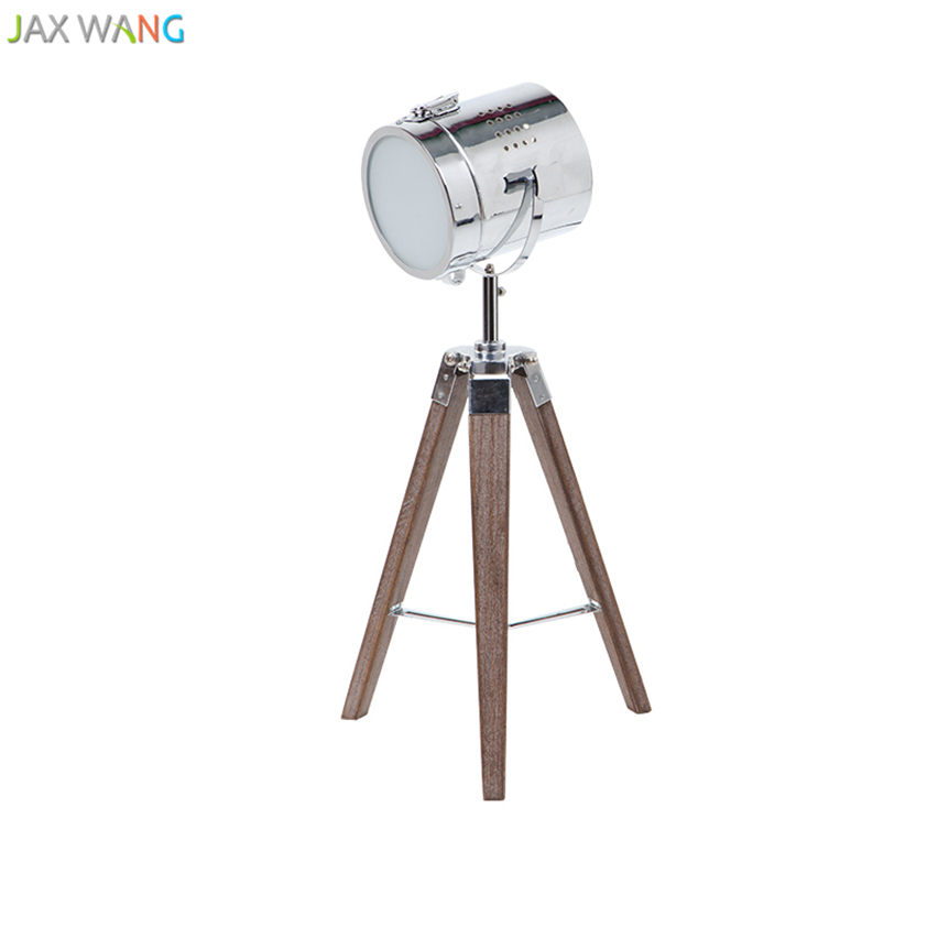 Us 124 8 20 Off Nordic Retro Solid Wooden Tripod Table Lamp Photography Desk Lights For Living Room Bedroom Reading Home Lighting In