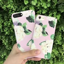 Cyato Fresh Flowers PC Hard Phone Protective Case Bags On The For Apple iPhone 6 6S 6SPlus 7 8 Plus Luminous Scrub Thin Cover nillkin fresh series protective pu pc case for iphone 6 4 7 black