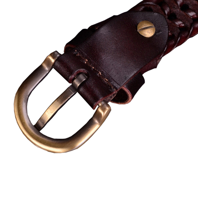 Genuine leather belt Woman Braided belts Women Cow second layer skin strap thin girdle Luxury for female jeans width 2.5cm