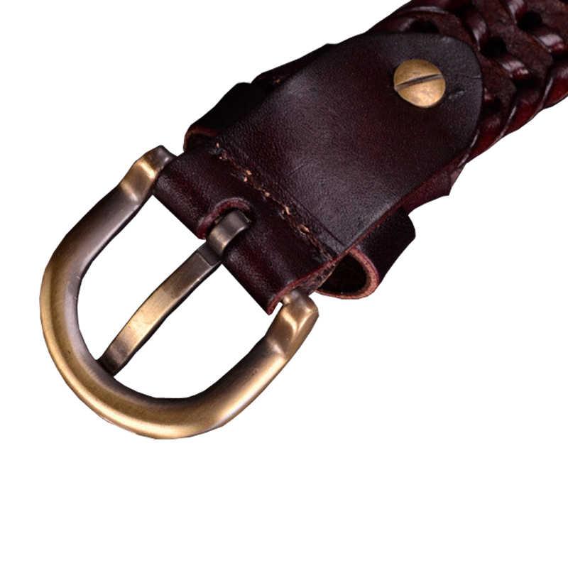 Echtes leder gürtel frau Geflochtene gürtel für Frauen Hohe qualität zweite schicht Kuh haut strap weibliche für jeans breite 2,5 cm Kaffee