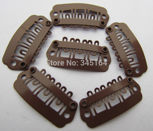 100pcslot 24mm Snap Clip For Hair Extension Wig Weft Brown Hair