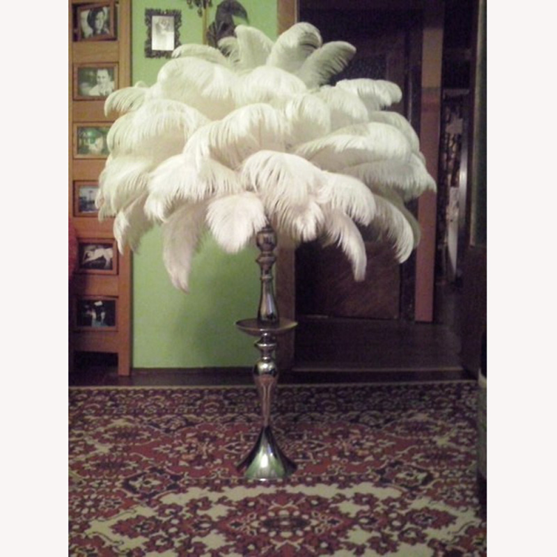 Commercio All'ingrosso Naturale Duro Rod 20 Pcs Piume di Struzzo Bianche 15-75cm6-30 ''Wedding Compleanno Decorazioni di Natale Spedizione Gratuita