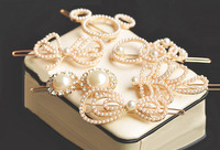 Fashion Charming6pcs Lset Korean Style Pearl Bowknot Leaf Circle Cat Mixed 6 Style Lovely Hair Clips
