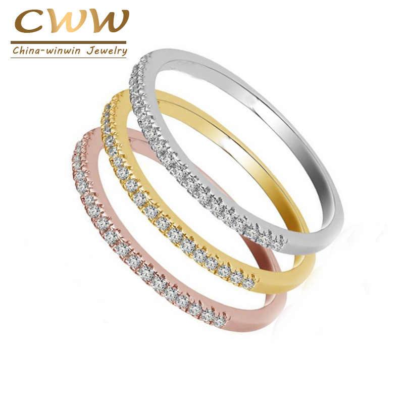 CWWZircons 3 โทนสีคุณภาพสูง Micro Pave CZ OL เครื่องประดับแฟชั่น Cubic Zirconia หมั้นแหวน R094