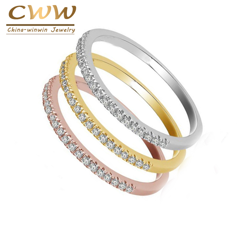 CWWZircons 3 Tones Color High Quality Micro Pave CZ OL Brand Jewelry Fashion Cubic Zirconia Engagement Ring For Women R094