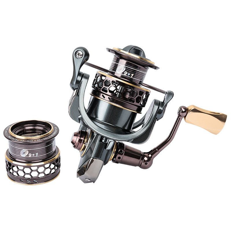 TSURINOYA Spinning Fishing Reel 9+1BB Gear Ratio 5.2:1 Double Metal Spool Lure Reel Jaguar 3000 baitcasting reel moulinet coonor j12 9 1bb metal spool fishing reel 5 1 1 gear ratio spinning reel full metal spool with double t shape handles
