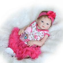 22 inch Gentle Touched  Full Vinyl Body Blue Eyes Bathed ANATOMICALLY CORRECT Reborn Baby Girl Doll in Pink Flower Pattern Dress