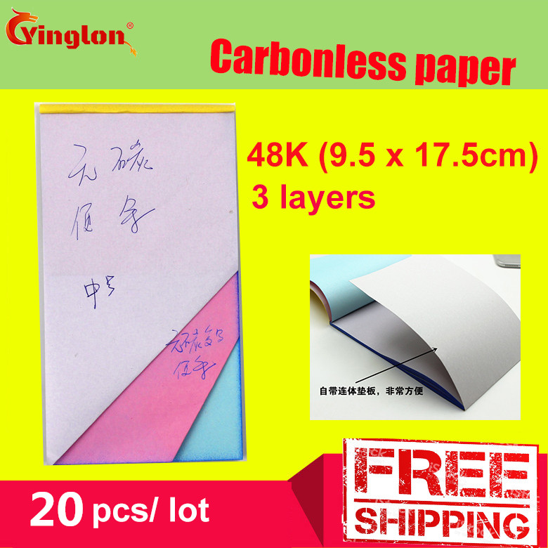 Free Shipping 5pcs /lot 48K Blank 3 Layer Carbonless Paper Triple Layer Handwritten Sales Note Memorandum Sheet Note Pad