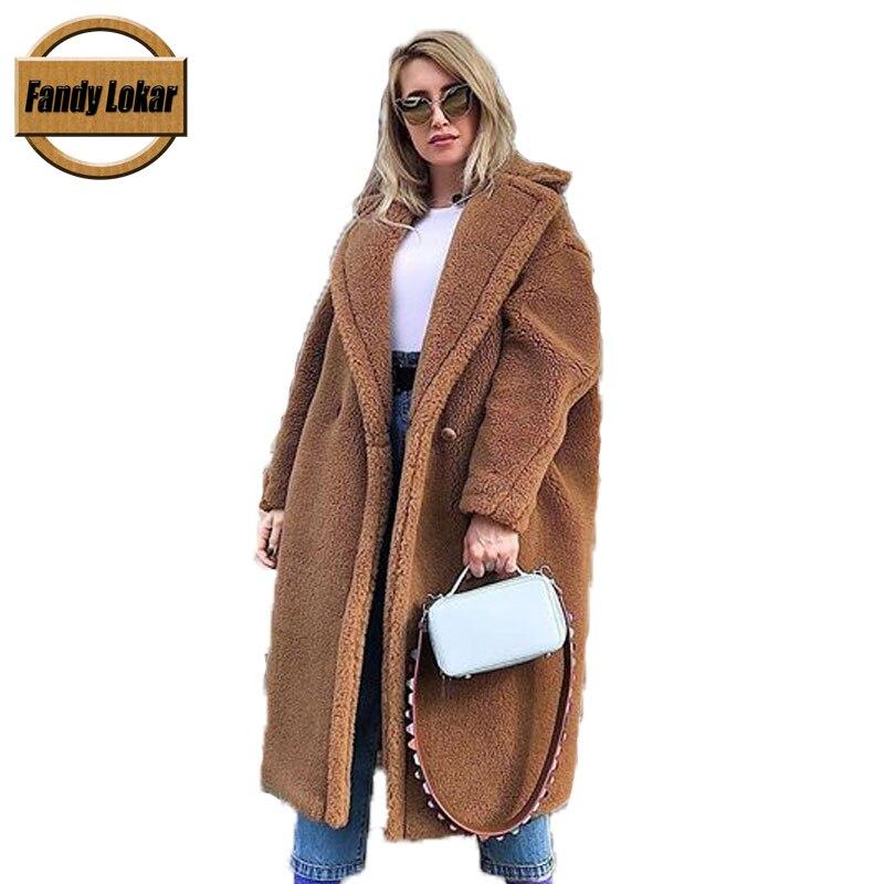 Fandy Lokar Real Fur Coat Women Winter Suit Collar Long Nature Teddy Bear Fur Coats Overcoat Female Genuine Furs Jacket RFC040-in Real Fur from Women's Clothing    1