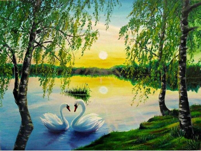 3D diamond embroidery Landscape lake pattern diy diamond painting full resin rhinestone diamond mosaic picture swans Needlework