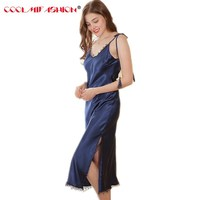Long Satin Nightgown Women Night Dress Sleepwear Backless Mid Calf Spaghetti Strap Sexy Negligees Lace Solid dressing gown Woman