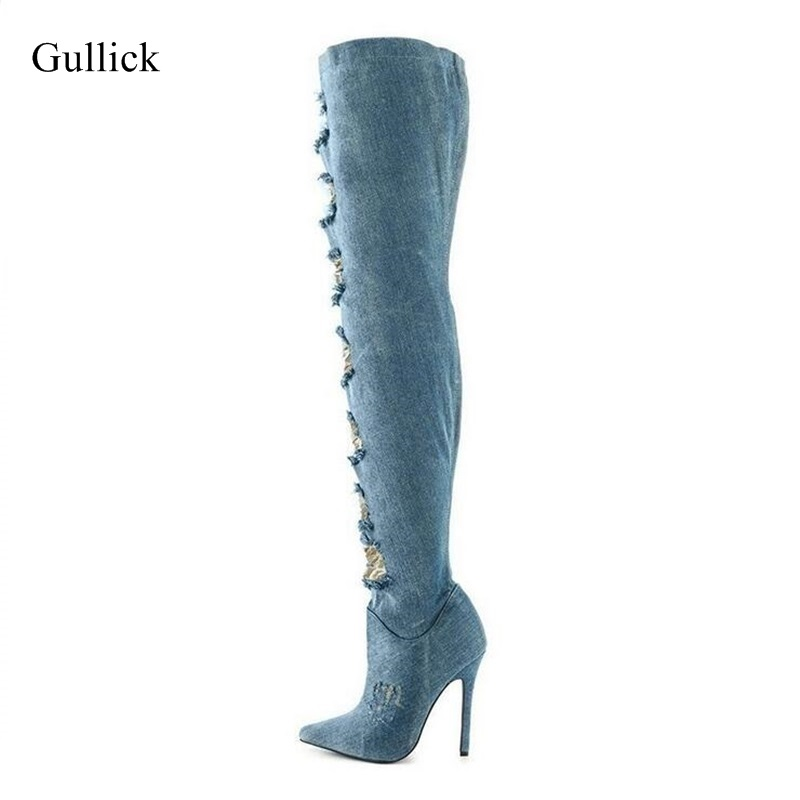 Sexy Denim Lace Over The Knee Boots Pointed Toe Thin Heels Side Zipper Jeans Boots For Women Tight High Long Boots Big Size 13 sexy women denim light blue skinny jeans crochet lace party female carve flower pants for women plus size s 3xl clothing k096
