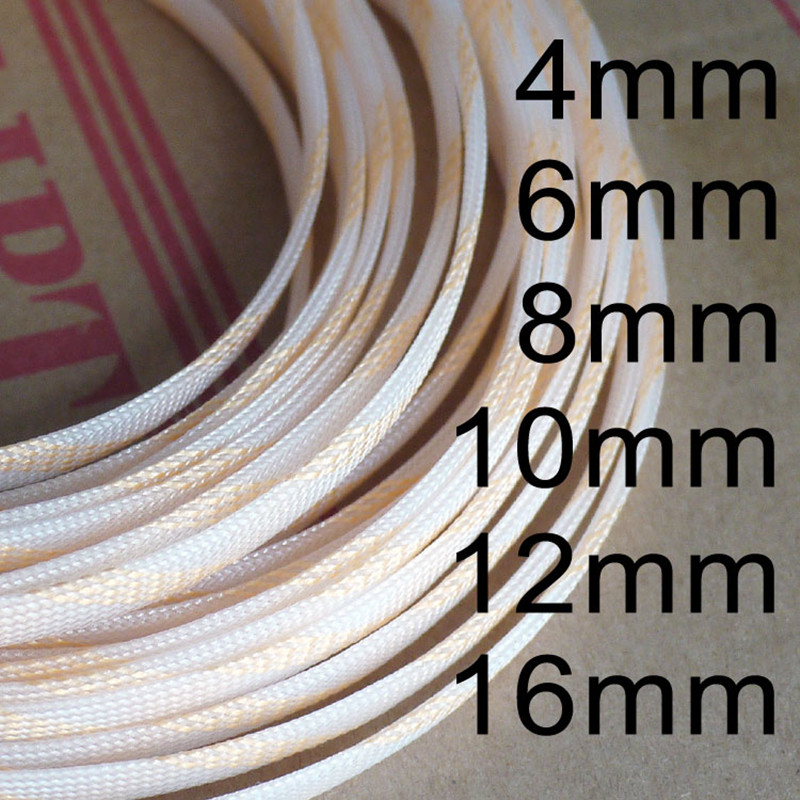 1 Meters Pure&Golden High quality 4 6 8 10 12 16mm Braided PET Expandable Sleeving High Density Sheathing Plaited Cable Sleeves