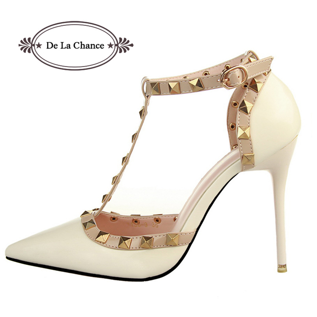Women Party Sandals Shoes Woman Thin High Heels Red Bottoms Buckle Studded  Sandals Vintage Sexy Sandals 587e83d9eba8