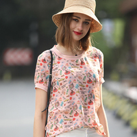 summer Ladie fashion Personality printing girl Large size clothes Silk T shirt fashionable woman Tops Tees t shirts woman tshirt