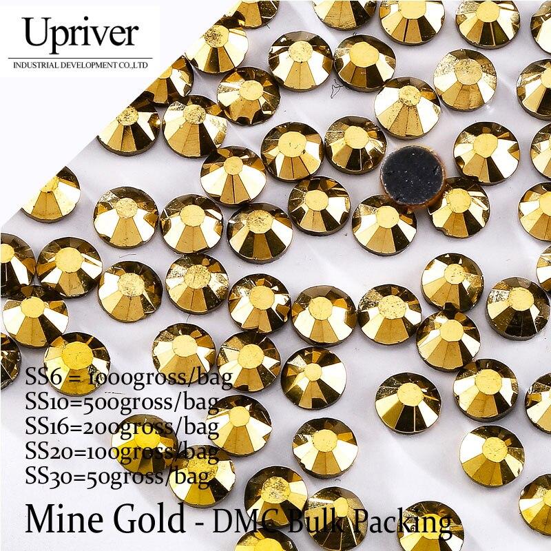 Bulk Packing Best Quality Shiny Glass Wholesale Size SS6 SS10 SS16 SS20 SS30 Mine Gold Hotfix Rhinestones