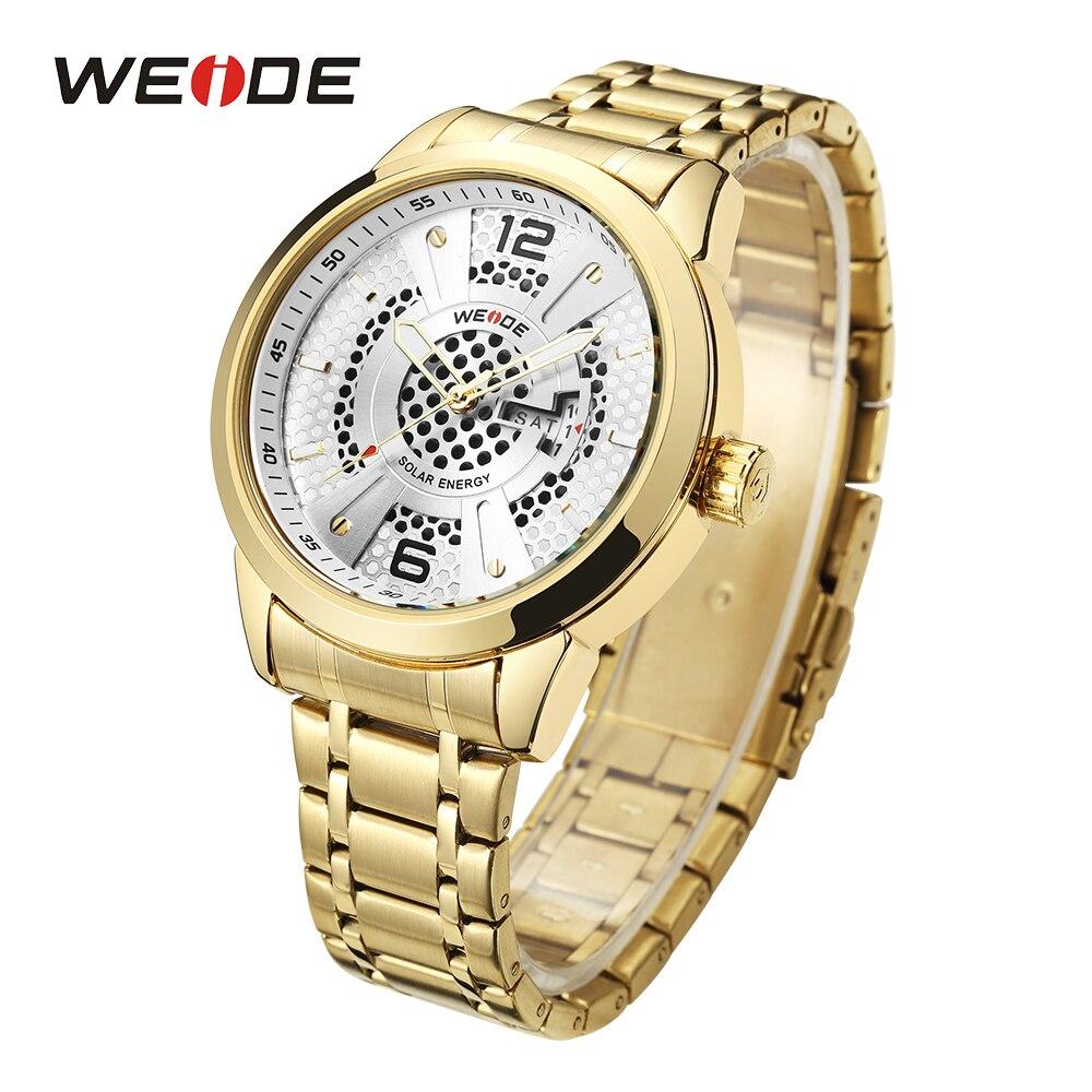WEIDE Men Solar Energy Sport Watch Auto Date Analog Quartz Movement Stainless Steel Band Gold Wristwatch Clock Relogio Masculino