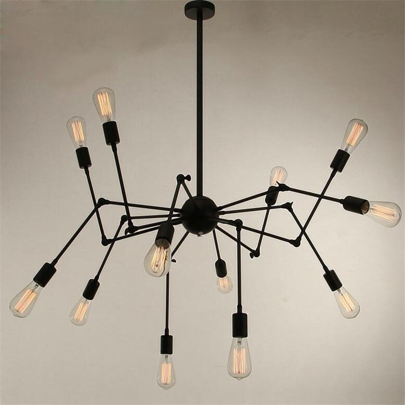 Vintage Industry Loft Creative Black Iron Led E27*12 Heads Pendant Light For Dining Room Living Room Decor Lamps 1543