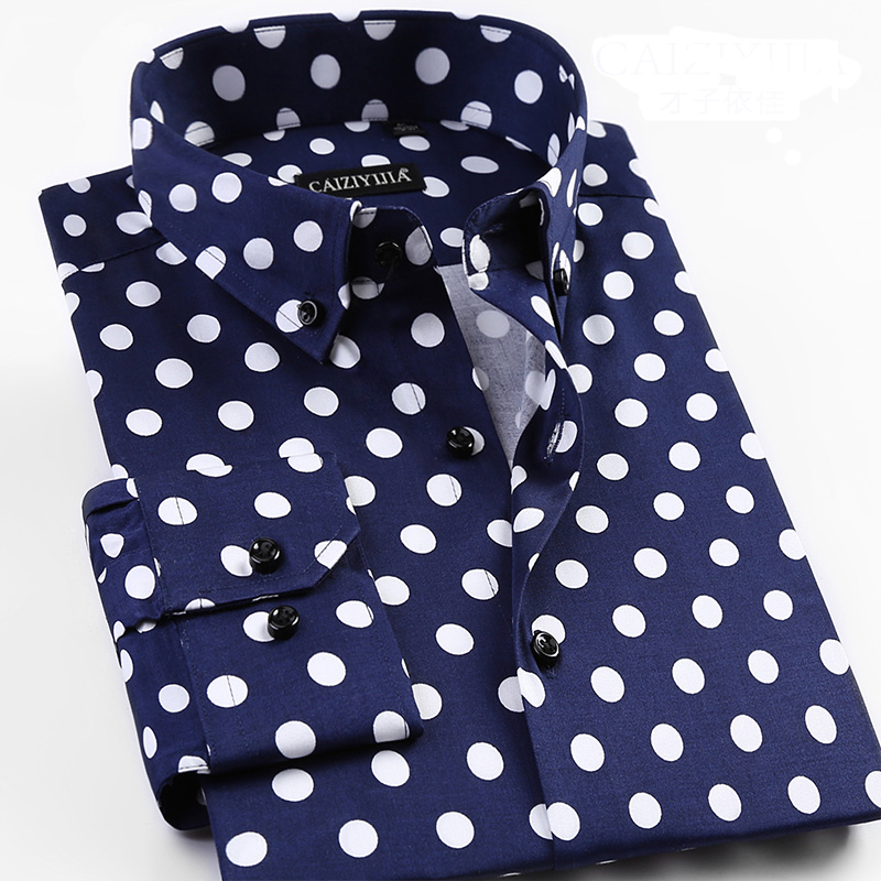 Grevol New Arrival Men'S Fashion Casual Long Sleeve Shirts Unique Design Polka Dot Shirts Modern Fashion Of Pop Element