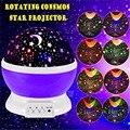 2017 venda Quente Romântico New Rotating Estrela Lua Céu Rotação noite Projector de Luz Da Lâmpada de Projeção com alta qualidade Dos Miúdos Cama lâmpada