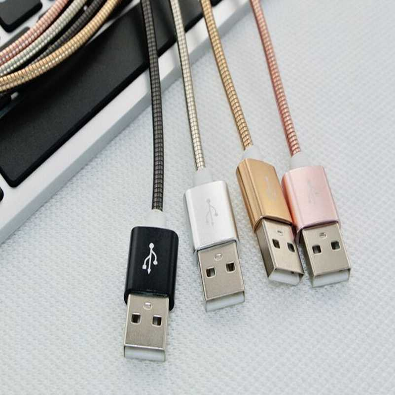 Фото Шт./лот высокое м качество 1 3FT Нержавеющая сталь Весна Быстрая зарядка USB кабель