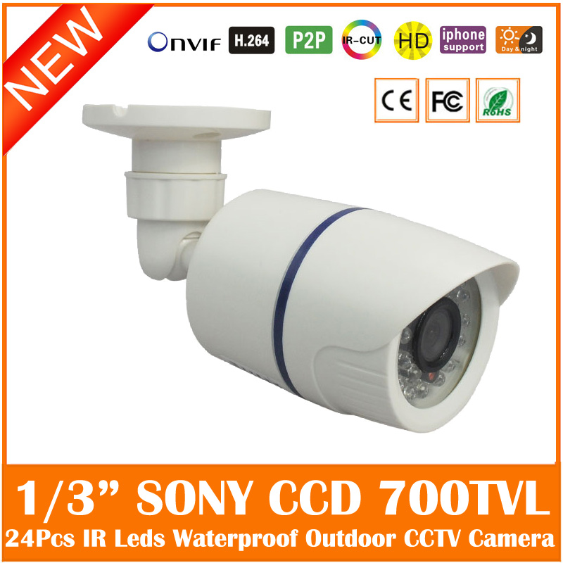 Ccd 700tvl Bullet Cctv Camera Waterproof 24 Pcs Infrared Night Vision Outdoor Security Surveillance Cmos Webcam Freeshipping 1 3 ccd waterproof surveillance security camera with 42 led night vision white dc 12v