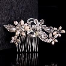Clear Rhinestone Crystals Bride Hair Combs Pearl Jewelry Leaves Floral Hair Pins Wedding Headpiece Hair Jewellery Accessories