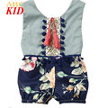 Vintage Floral Playsuits Girls Infants Lace Onesie Sleeveless Tassel Bodysuits Backless Shorts Bodysuit Onesie KD415