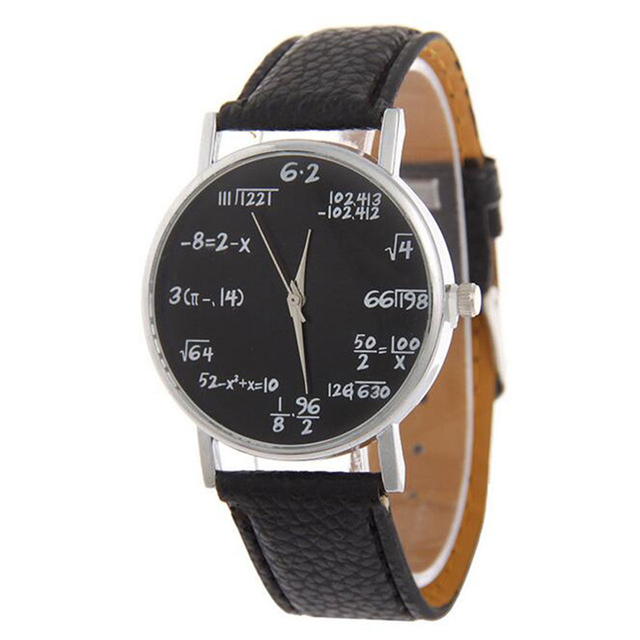 b55e37439dcf Moda creativa Matemáticas fórmula hombres mujeres correa de cuero reloj  analógico de cuarzo reloj de pulsera