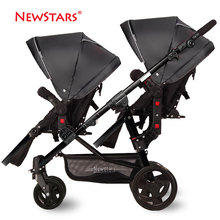 Free Delivery Newstar baby brand twins strollers  for  twins baby stroller baby stroller front and rear light two seat cars