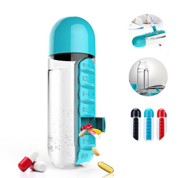 600ml 2 in 1 portable pill organizer box water bottle for outdoor with 7 compartments
