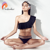 Andzhelika Bikini Women 2018 New One Shoulder Sexy Brazilian Lotus Leaf Swimsuit Beach Swimwear Mesh Waist