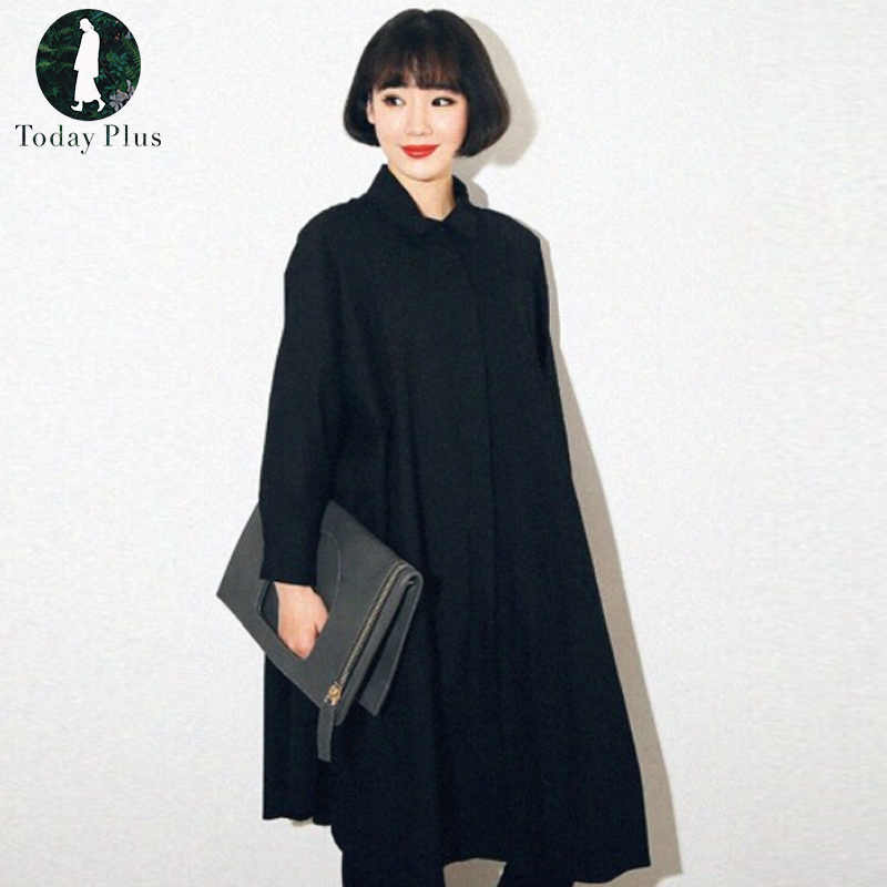 Today Plus 2017 New Women Fashion Shirt Dresses Loose Turn-down Neck Long Sleeve Oversized Solid White Black Ladies Casual Dress