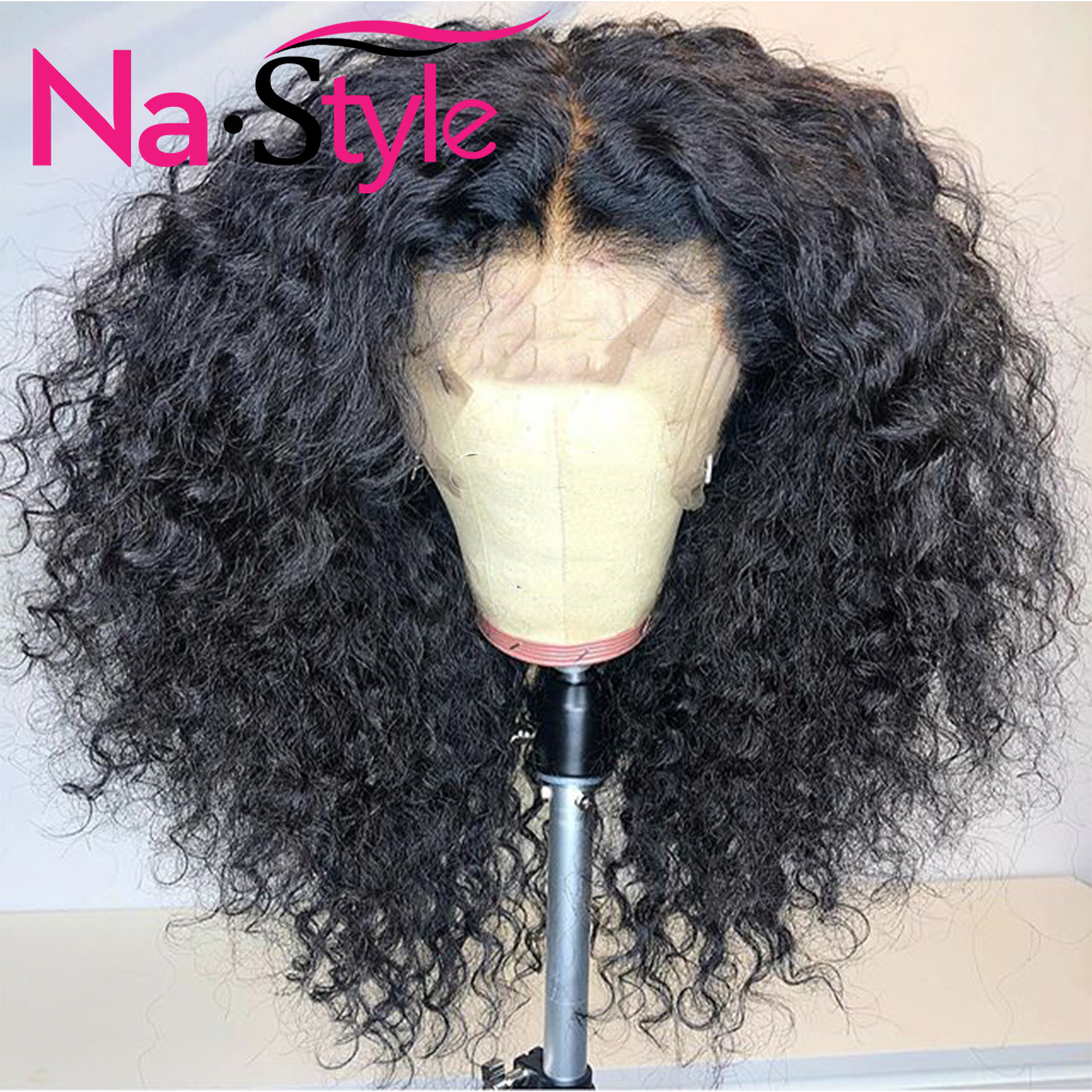 HD Transparent Lace Wigs Bleached Knots 360 Lace Frontal Wig Pre Plucked Baby Hair Afro Kinky