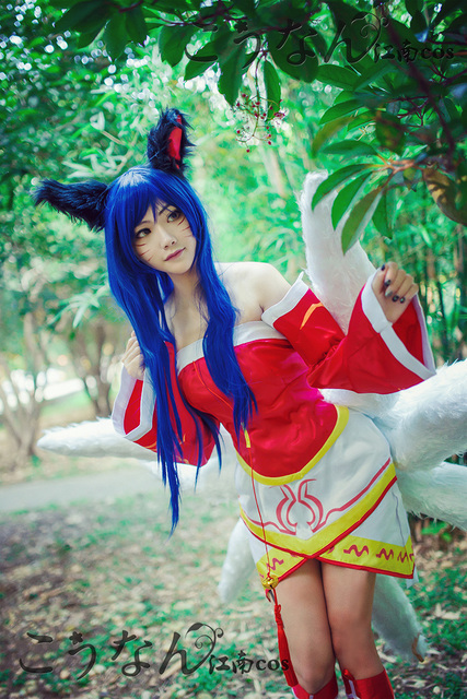 LOL Classic Ahri Cosplay Costume Halloween Uniform Outfit  Top+Skirt+Sleeves+Socks+