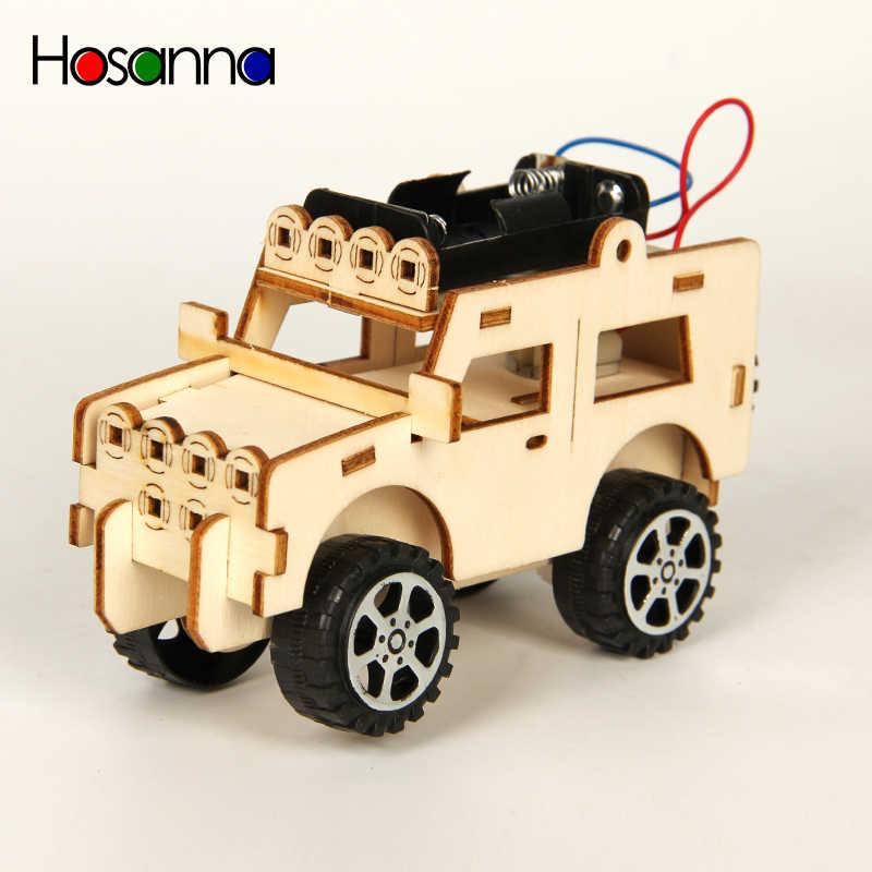 Anak-anak DIY Mobil JEEP Batang Ilmu Mainan Kit Kendaraan Listrik Model Percobaan Permainan Belajar Fisika Mainan Pendidikan untuk Anak-anak