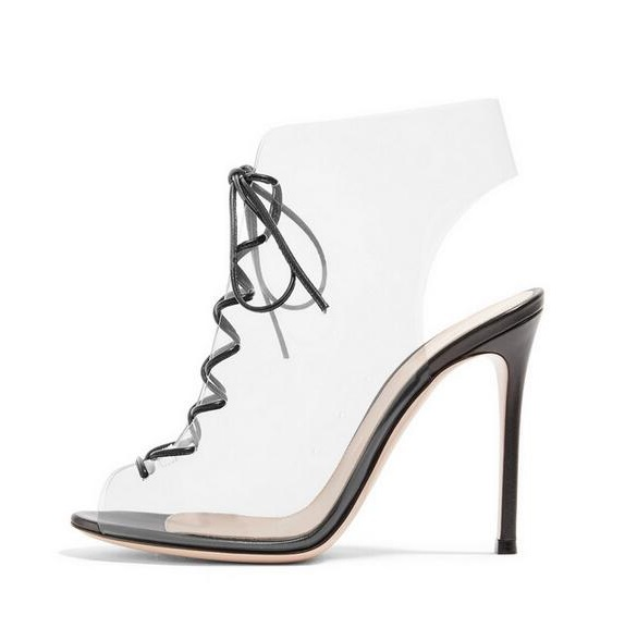 Women Peep Toe Lace-Up PVC Ankle Boots Hollow Stiletto Heel Dress Sandal Shoes Cut-out Transparent Gladiator Sandals Boots new design nubuck leather lace up women pumps peep toe hollow out super stiletto high heel shoes multi color optional footwear