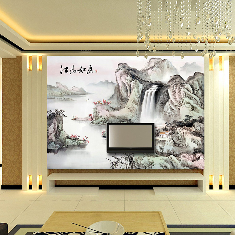 Customized mural wallpaper large 3D classic Chinese style ink painting mountain water behind TV sofa as background in living in Wallpapers from Home Improvement