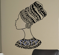 African Hairstyle Wall Decal Folk Patterns Girl Woman Vinyl Sticker Home Decor Ideas Room Interior Bedroom