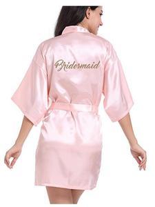 RB91 2017 Модный Шелковый халат для матери невесты с золотыми буквами, сексуальное женское Короткое атласное свадебное кимоно, одежда для сна
