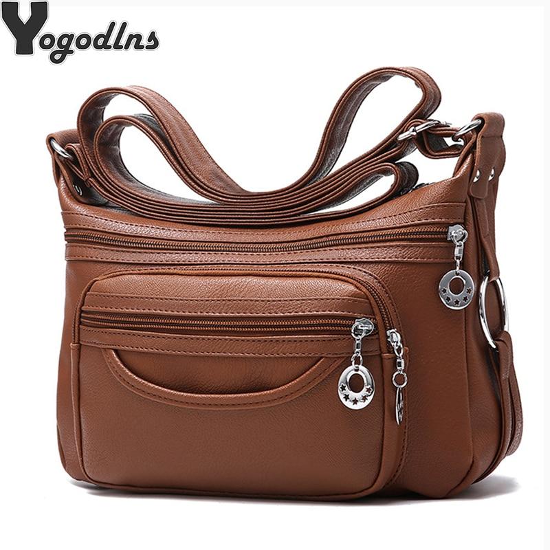 Ladies Casual Hobos Crossbody Bags Women Messenger Bags Soft Washed PU Leather Shoulder Bag Female Handbag Zipper Decoration