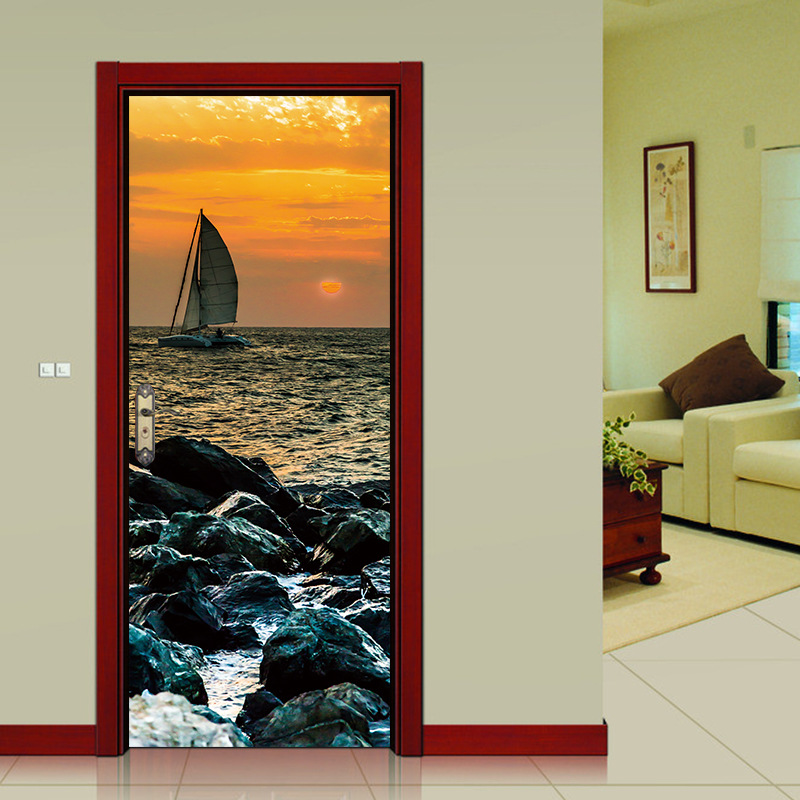 Door Stickers Sunset Rocks Sea Sailing Boat Wallpaper Self adhesive Art Mural Window Decor Stickers Home Decor