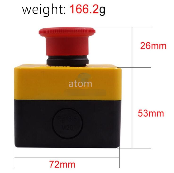 Emergency stop button box XB2 Y090 pit elevator emergency stop switch LA38LA39 often close 22mm ac 600v 10a normal close plastic shell red sign emergency stop mushroom knob switch 22mm elevator emergency stop switch