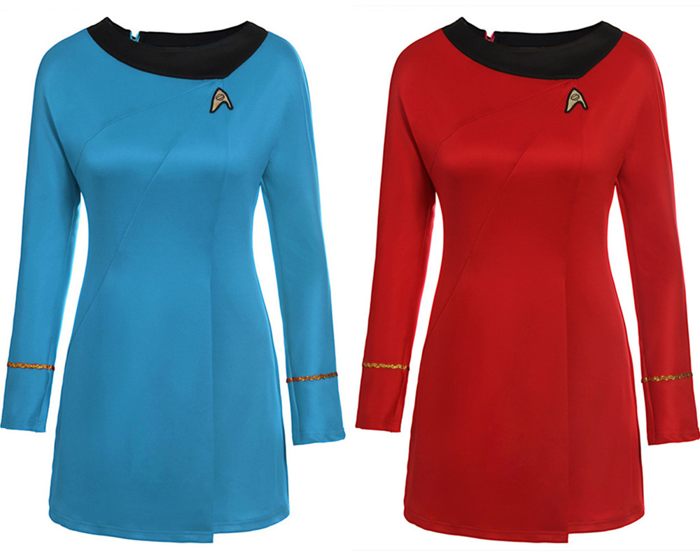 Cosplay Star Trek Costume Into Darkness Fleet Uhura Full Set Blue/red Dress Uniform Carnival Cosplay women Female Flight Attenda