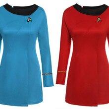 3d8e43f4a26 Косплей Звездный путь костюм в темноте флот Ухура полный набор синий красный  платье униформа карнавальный